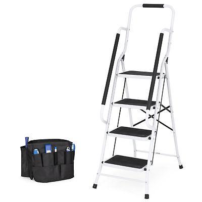 Bcp 4-step Portable Folding Ladder W Handrails Tool Bag - White