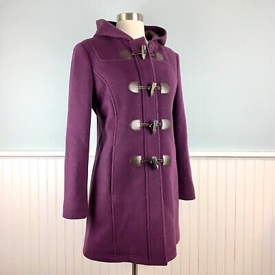 Size 4P LL Bean Hooded Wool Duffle Coat Toggle Jacket Women's Small S 4 Petite