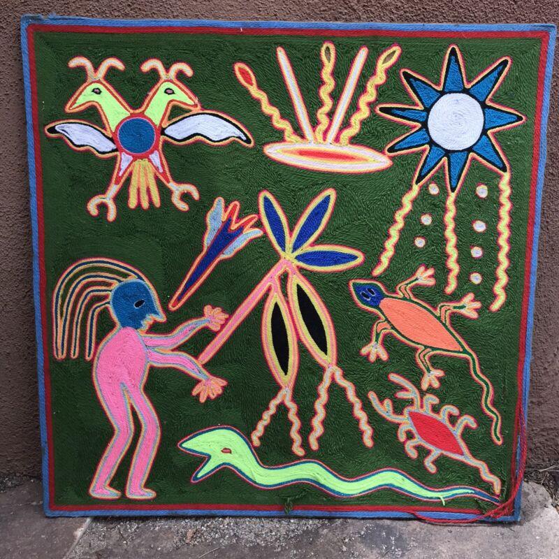 Vintage Huichol Indian Peyote Yarn Painting