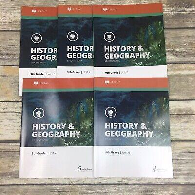 Alpha Omega LifePac History & Geography 9th Grade Student Books Unit 6-10  Grade Lifepac History Unit