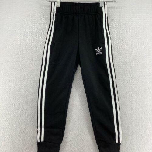 Adidas Originals Boys Athletic Elastic Waist Black White Track Pant Size XSmall