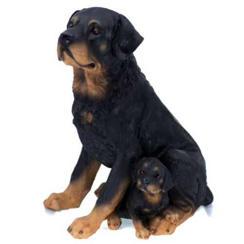"Rottie Rottweiler Dog Mother and Puppy Figurine 11.25"" High Resin Statue New"