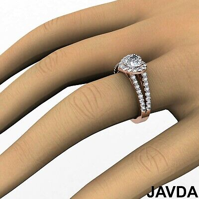 Halo Split Shank French Pave Heart Cut Diamond Engagement Ring GIA H VS2 1.25 Ct 11