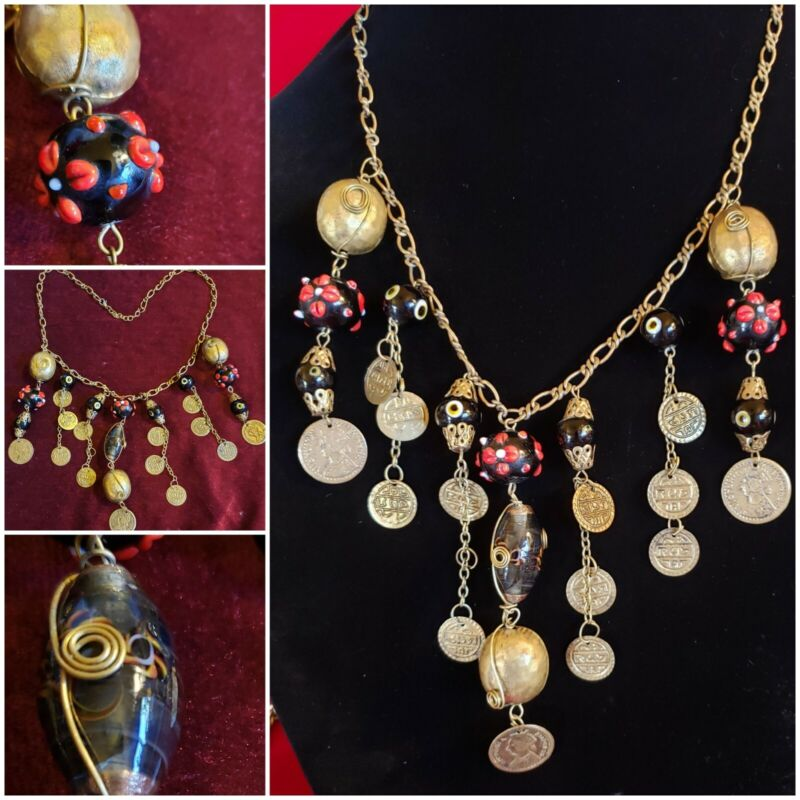 Unique Artisan  Ethnic Brass Hammered Beads Coins Evil Eye & Art Beads Necklace