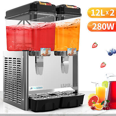 Commercial Juice Beverage Dispenser Cold Drink 2 Tank Wthermostat Controller