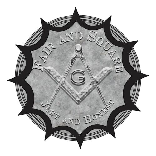 Fair and Square Just and Honest Round Masonic Bumper Sticker