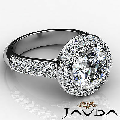3 Row Shank Double Halo Round Diamond Engagement Ring GIA F SI1 Clarity 2.5 Ct 3
