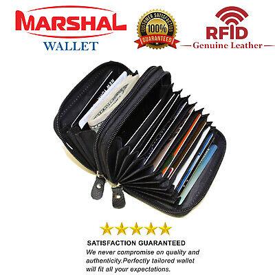 Marshal RFID Genuine Leather Credit card holder accordion Wallet, Black