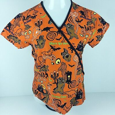 Halloween Scooby Doo Hospital Scrub Top Shirt Womens XS Uniform Vet Tech Holiday