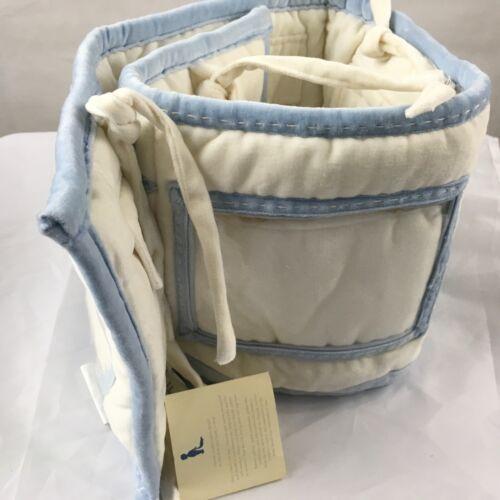 NEW POTTERY BARN KIDS Baby Photo Bumper Crib Ivory Blue Padded JPMA Nursery Bed