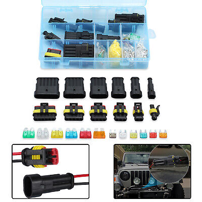 1-6 Pin Way Car Auto Electrical Wire Connector Plug Blade Fuses Kit Waterproof