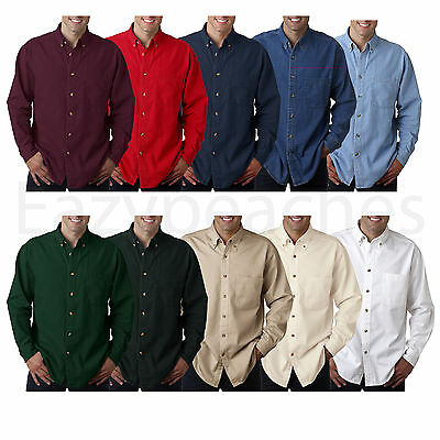 29c906da UltraClub Long-Sleeve Cypress Denim with Pocket Solid Button Up Shirt Men's  8960