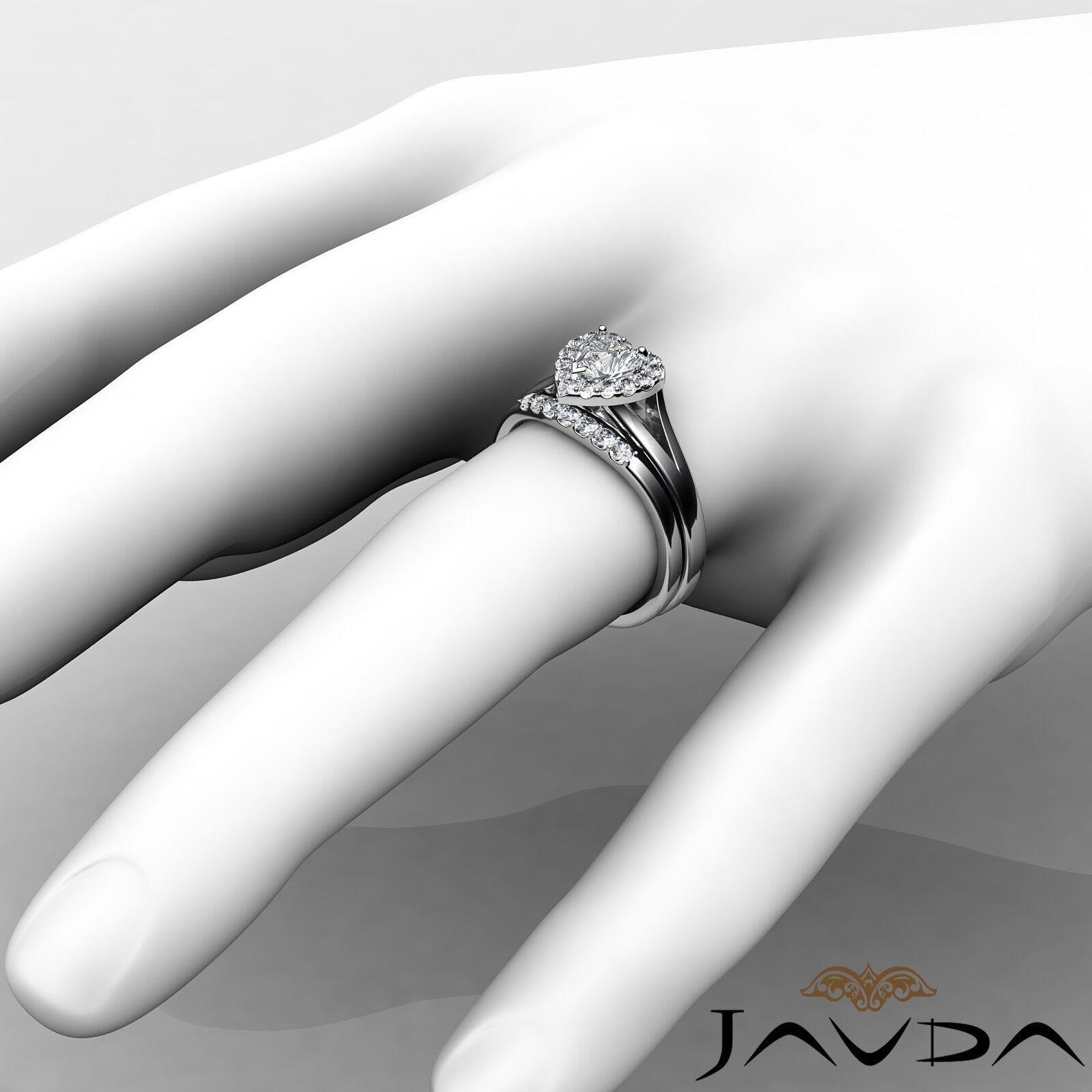 1.22ctw Pave Halo Bridal Set Heart Diamond Engagement Ring GIA G-VVS2 White Gold 4