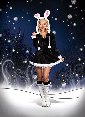 Sexy Adult Halloween DreamGirl Hip to the Hoppity Bunny Rabbit Costume](Black Rabbit Halloween Costume)