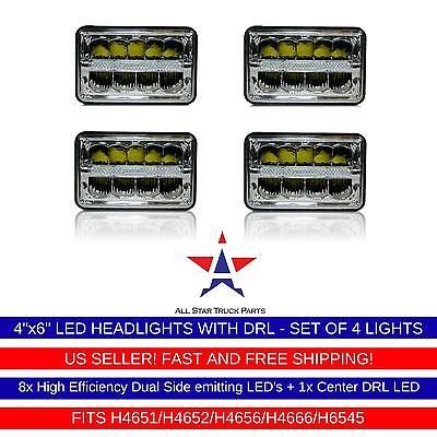 """4x6"""" inch DRL LED Headlights CREE HID Replace H4656/4651 High/Low Beam 45W-Qty 4"""