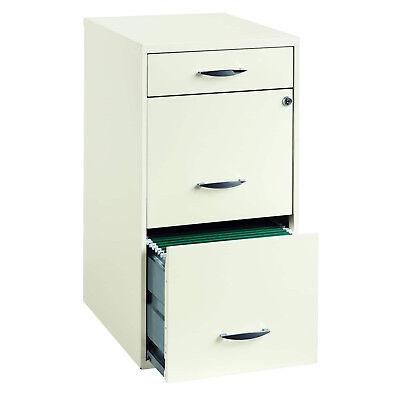 Vertical Storage Cabinet 3 Drawer File Lockable White