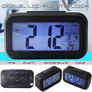 New Battery Digital Alarm Clock with LCD Display Backlight Calendar Snooze UK