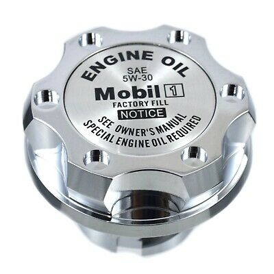 Chrome Billet Mobil 1 5W-30 Anodized Cap Filler For GMC Chevy Buick Cadillac