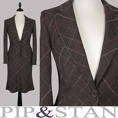 NEW OASIS UK8/10 US4/6 BROWN CHECK WOOL BLEND SKIRT SUIT WOMEN SIZE