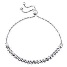 Amour 1/4 Ct TDW Diamond Bolo Bracelet in Sterling Silver G-HI2-I3