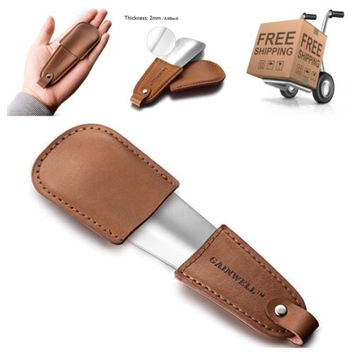 """Leather Handle Pocket Metal Shoe Horn 4.7"""" with Protective Case"""
