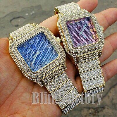 Luxury Iced out Square Lab Diamond Metal Band Shiny Dress Clubbing wrist Watch ()