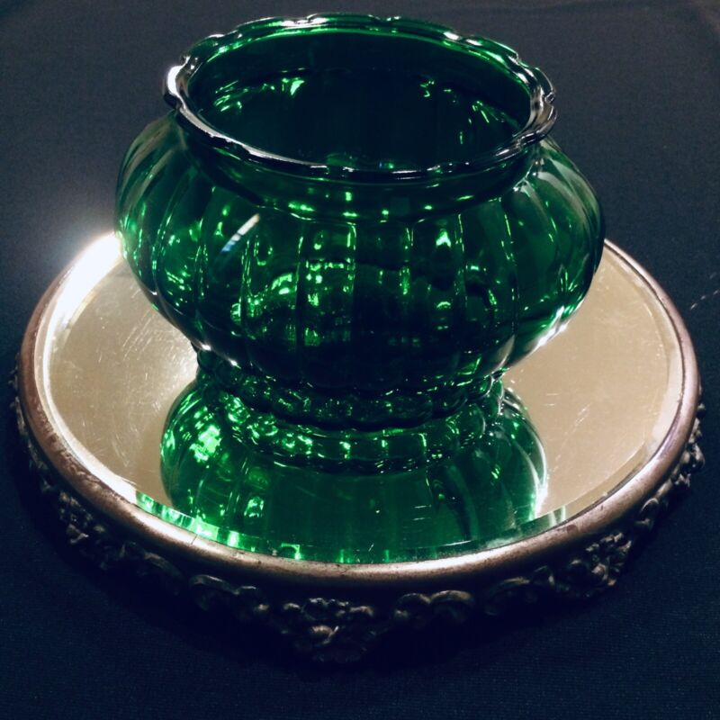 VINTAGE  A.L.R. CO. EMERALD GREEN GLASS PLANTER BOWL VASE RIBBED SCALLOPED