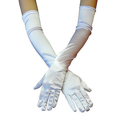 White Opera Gloves (USA White Women Evening Party Wedding Opera Finger Elbow Long Satin Gloves)
