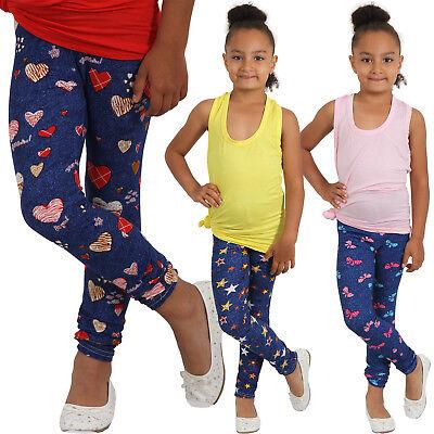 Leichte Kinder Leggins Hose Leggings Herz Schleife Stern Erdbeere Mädchen weich ()