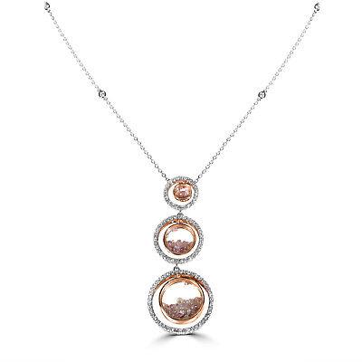 Pink Diamanten - Halskette & Anhänger 3.80ct Natürlich Kostüm 18K - Kostüm Diamant Halskette