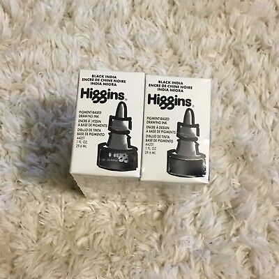 NEW 6-Pack Higgins Black India Water Proof Pigment-Based Drawing Ink 1 Oz. Each