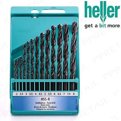 13Pc HELLER HSS-R Small-Large High Speed Drill Bit Set Metal/Sheet/Wood/Plastic