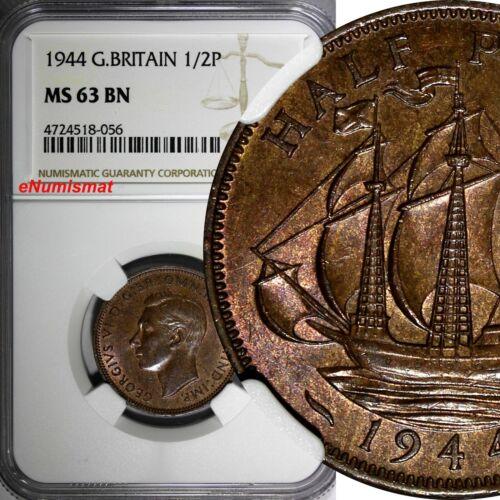 Great Britain George VI Bronze 1944 1/2 Penny NGC MS63 BN KM# 844