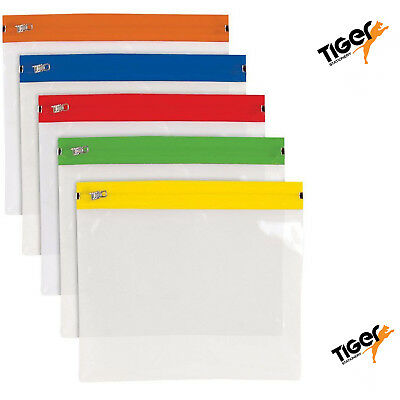A5 Polythene Zippy Bag Organizer Folder Pocket Subject Storage Wallet Pack of 5