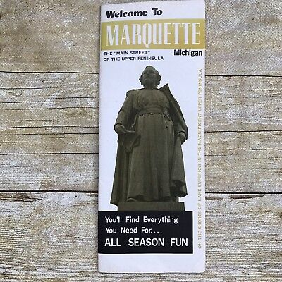 Vintage Brochure Marquette Michigan MI Travel Vacation Advertising History Map