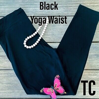 Simply Best Solid Black Leggings Buttery Soft TC Plus Size 10-16 Yoga