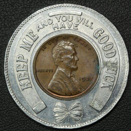 1937 Priscilla Ware Good Luck Charm Souvenir Lincoln Wheat Cent