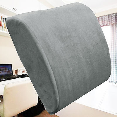 Memory Foam Lumbar Support Cushion Lower Back Pillow Home Office Chair Gray
