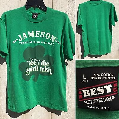 Vintage Jameson Irish Whiskey Keep The Spirit Irish T-Shirt L BEST 80s