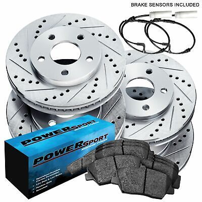 Fit BMW 760i, 760Li, 750i Front Rear  Drill Slot Brake Rotors+Ceramic Brake Pads
