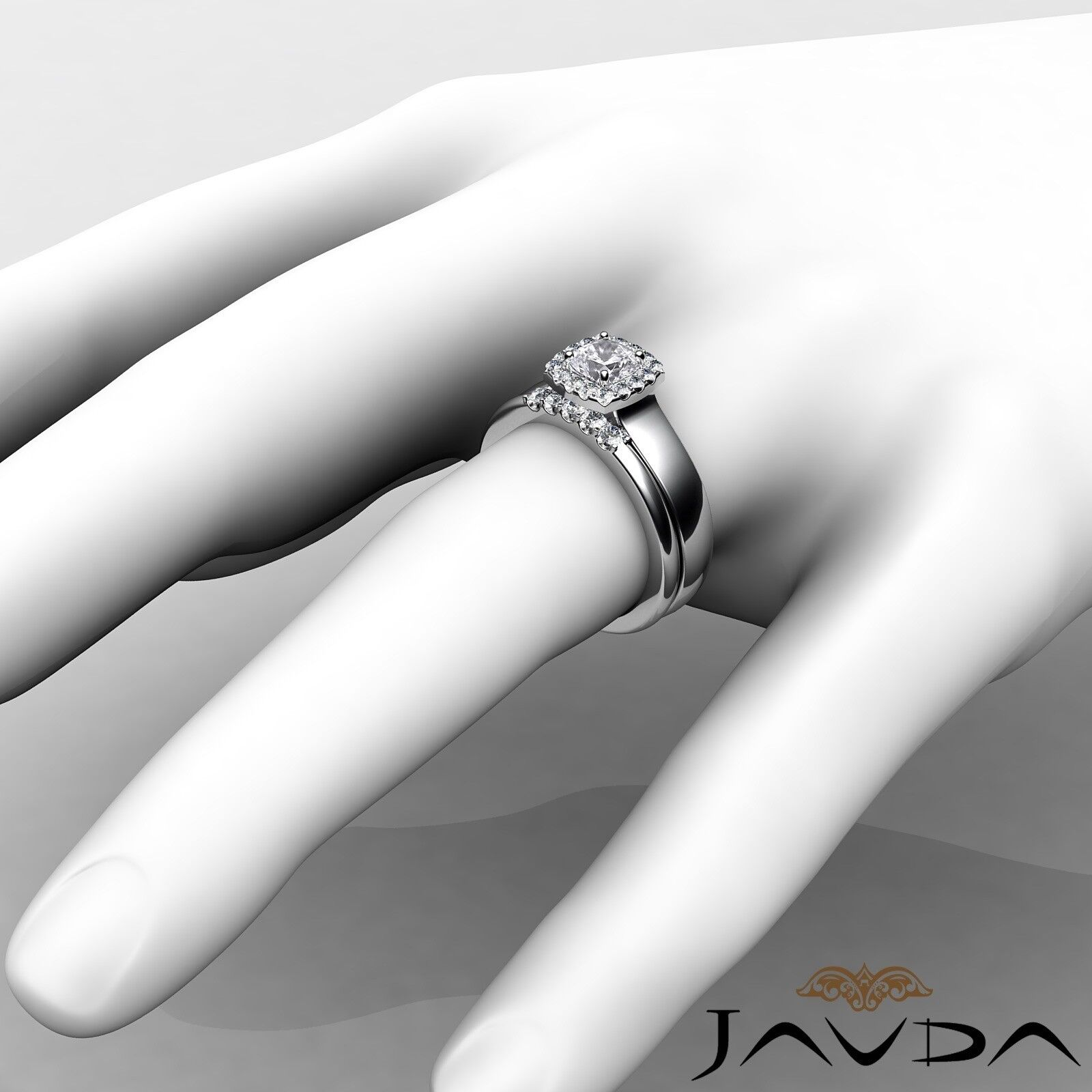 1.04ctw Solitaire Halo Bridal Cushion Diamond Engagement Ring GIA H-VS2 W Gold 4