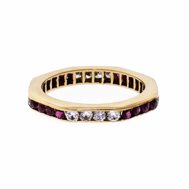 Diamond Ruby Octagonal 14k Yellow Gold Wedding Band Ring