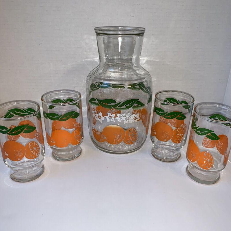 Vintage Mid Century Modern Swanky Swigs Orange Juice Jug Container & 4 Glasses