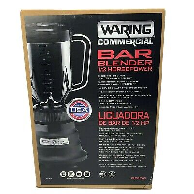 Waring Commercial Bar Blender 12 Hp 48-oz. 2 Speed Bb150 New Unopened Box Black