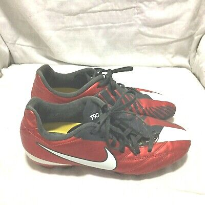 save off 04eae 2da33 NIKE T-90 SOCCER CLEATS - RED BLACK WHITE ( SIZE 5Y ) YOUTH