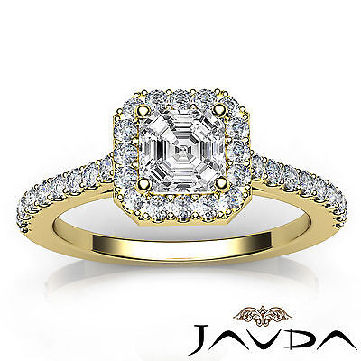 Asscher Cut Diamond Engagement GIA H SI1 18k Yellow Gold Prong Set Ring 1.23Ct  3