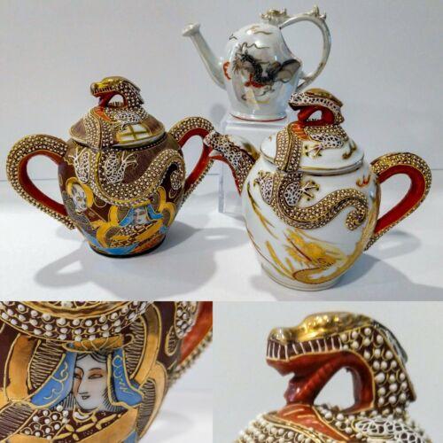 3pcs Vintage DRAGONWARE Japan Raised Moriage Porcelain Teapot Sugar Bowl Creamer