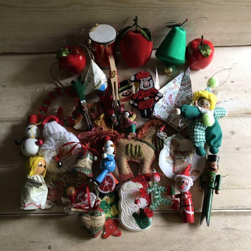 Vintage Christmas Ornament Lot Japan Homemade Retro Holiday Decorations VTG