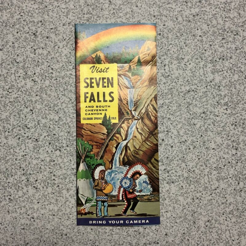 Vintage 1950s Colorado Springs Seven Falls and South Cheyenne Canyon brochure