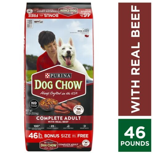 Purina Dog Chow Dry Dog Food, Complete Adult With Real Beef, 46 lb - FREESHIP